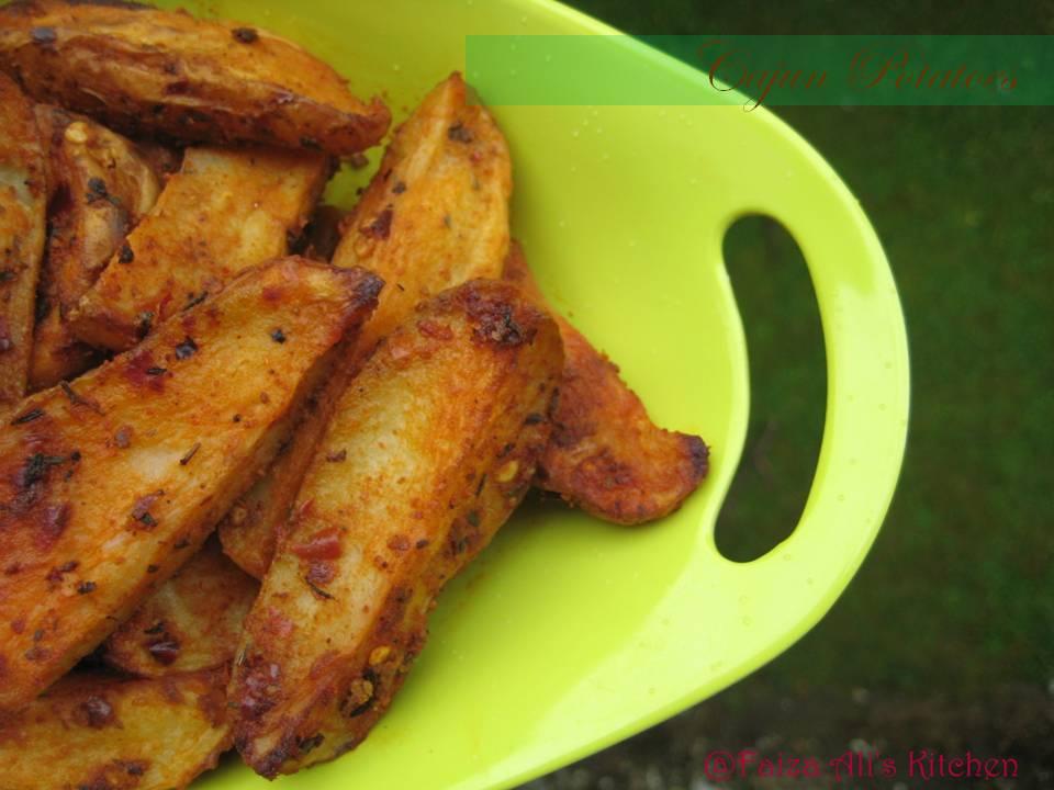 Faiza Ali's Kitchen: Cajun Potatoes- Spicy Potato Wedges