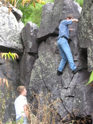 Me trying to climb a small rock face