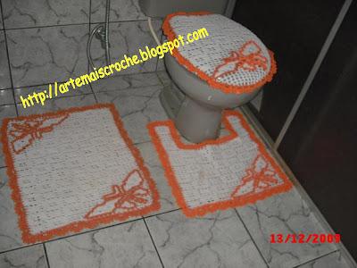 conjunto de banheiro crochê barbante