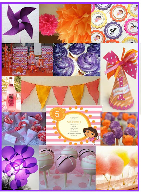 Red Bow Party Design: Dora Inspiration Board - Purple Orange and Pink!