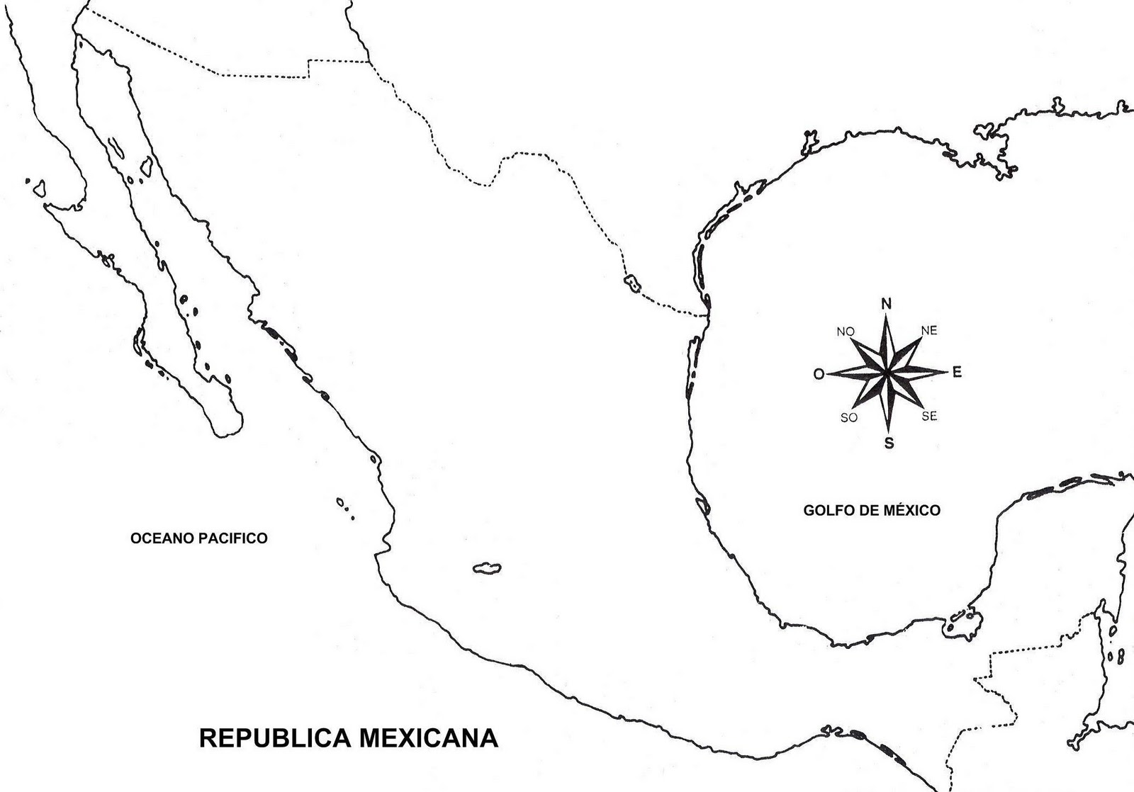 Mapa de la república mexicana sin nombre y sin división política [Contorno]