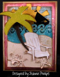 Оригинальная самодельная открытка об отдыхе на тропическом пляже