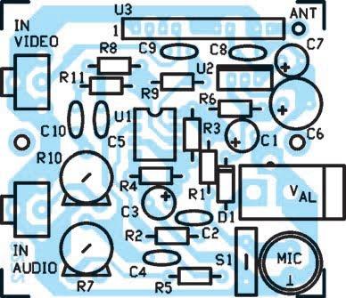 Schéma d'implantation des composants de l'émetteur TV 1 mW