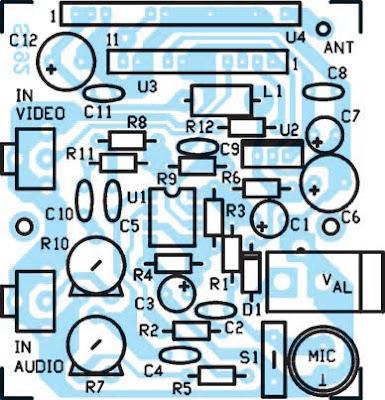 Schéma d'implantation des composants de l'émetteur TV 20 mW