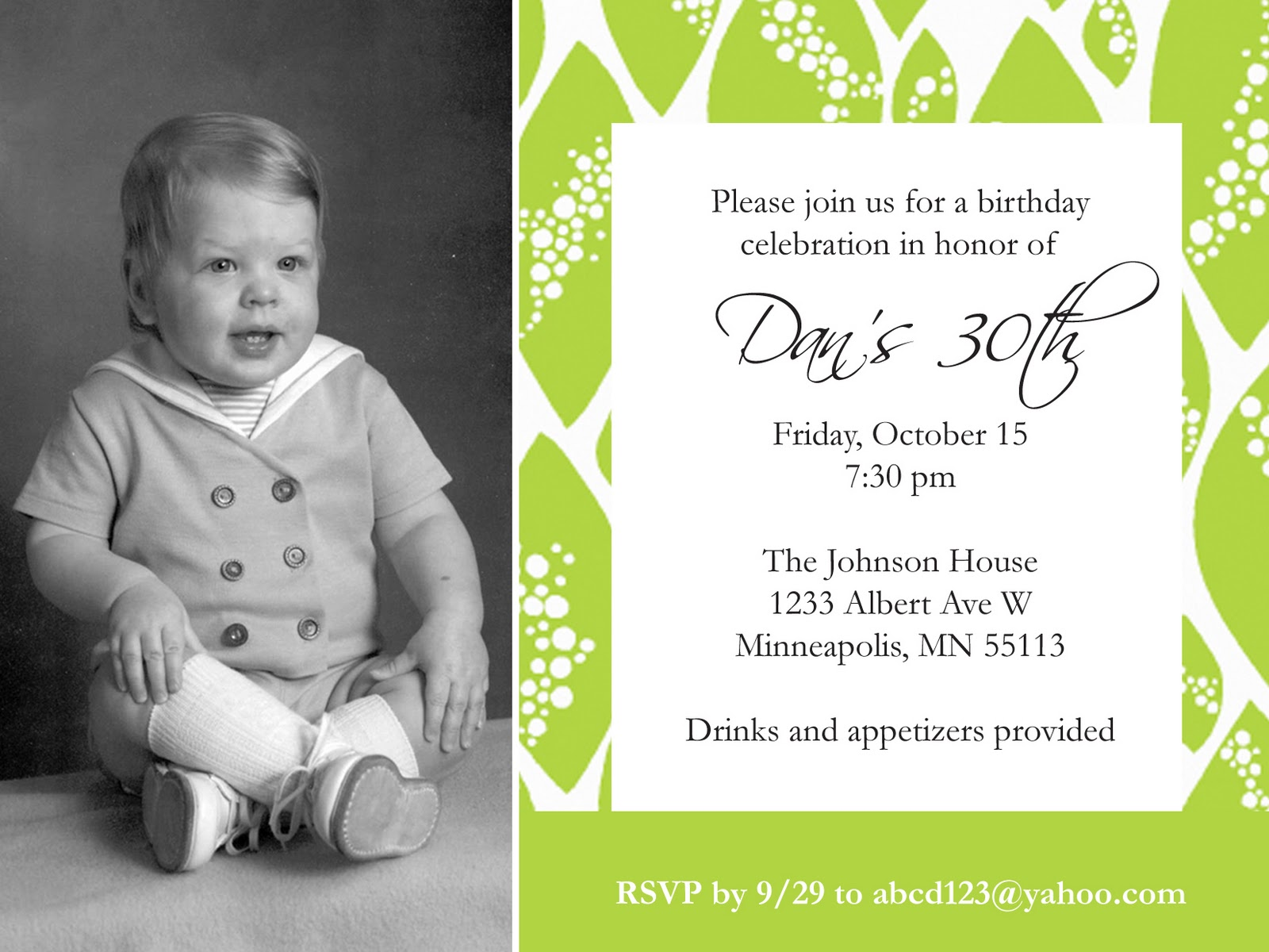 Adult Birthday Invite - Photo Template