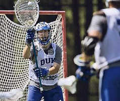 Duke goalie Dan Loftus works on his technique during practice. Loftus has a 24-5 career record.