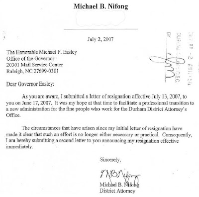 Nifong resignation letter to Gov. Easley, July 2, 2007