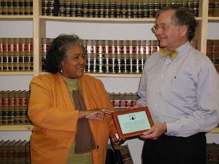 Judge Wade Barber (right) is welcomed at the Legal Aid NC-Pittsboro Office, Feb 1, 2006