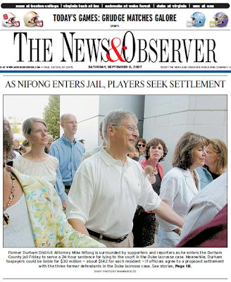 News and Observer frontpage Sept. 8, 2006