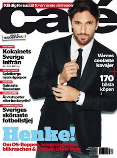 Henrik Lundqvist, aka Hanke appears in Swedish Men's Magazine Cafe