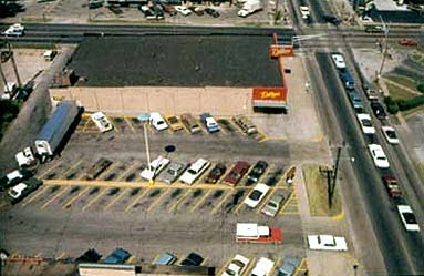 Aerial view of Dillons parking lot where BTK left care in 1974