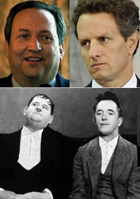Clockwise from upper left - Larry Summers, Timothy Geithner, Stan Laurel, and Oliver Hardy