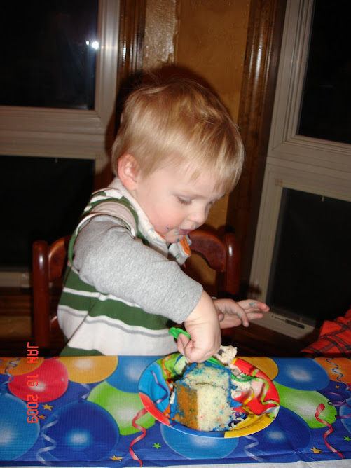 Kaden Eating Birthday Cake