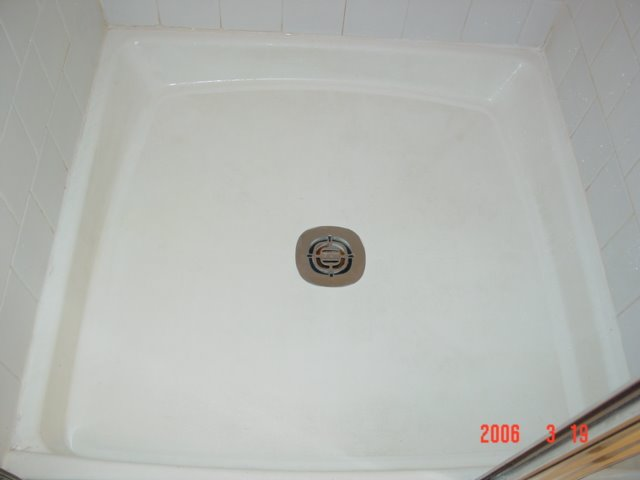 Fiberglass Shower Pan - AFTER Steam Vapor Cleaning