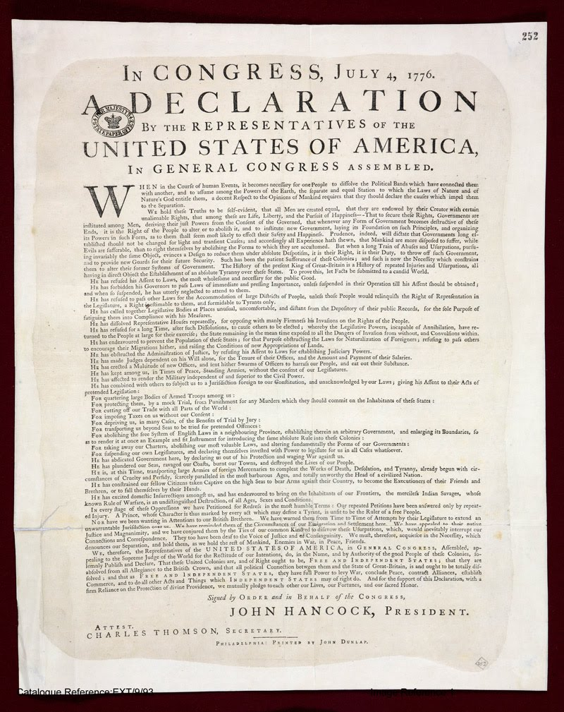 Massif image within printable copy of the declaration of independence