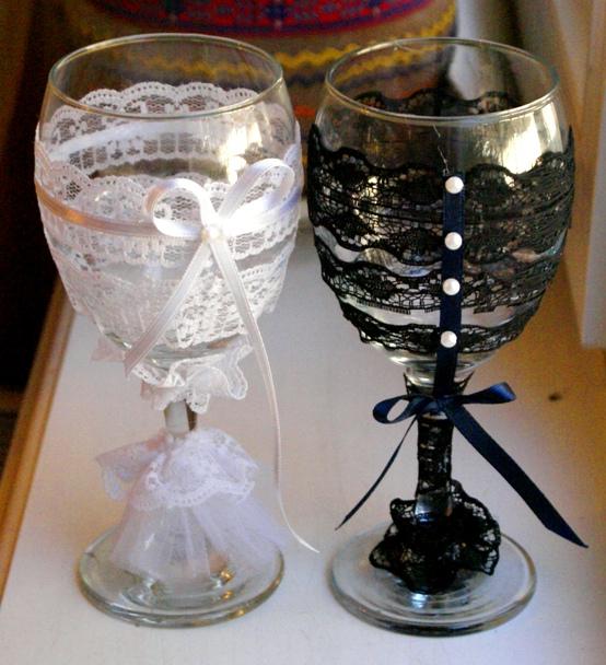 Украшение свадебных бокалов своими руками идеи
