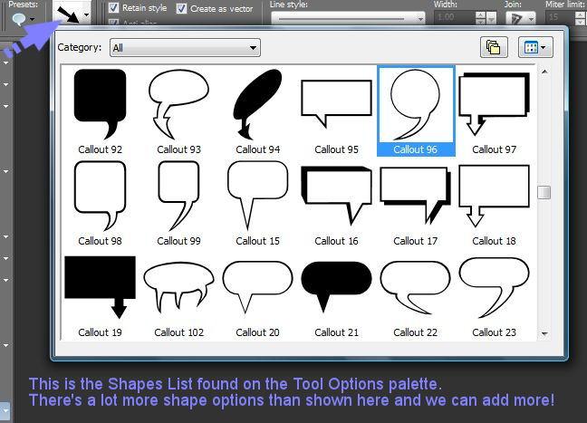 Paint Shop Pro Change Preset Shapes