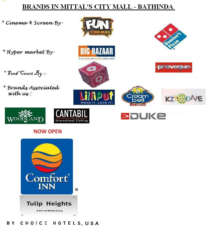 BRANDS IN MITTAL'S CITI MALL-BATHINDA (PUNJAB)