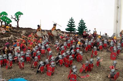 Batalla de Cannas representada con clics de Playmobil