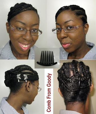 Twisted bang + front flat twists + french roll in the back = Cute,
