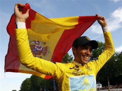 Astana rider and leader's yellow jersey Alberto Contador of Spain