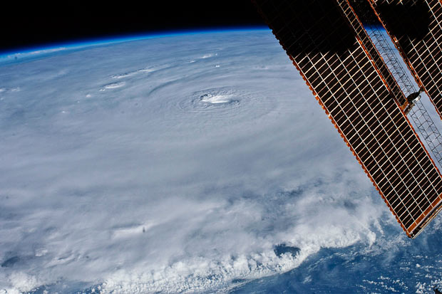 The eye of Hurricane Earl is seen in this photo taken from the International Space Station