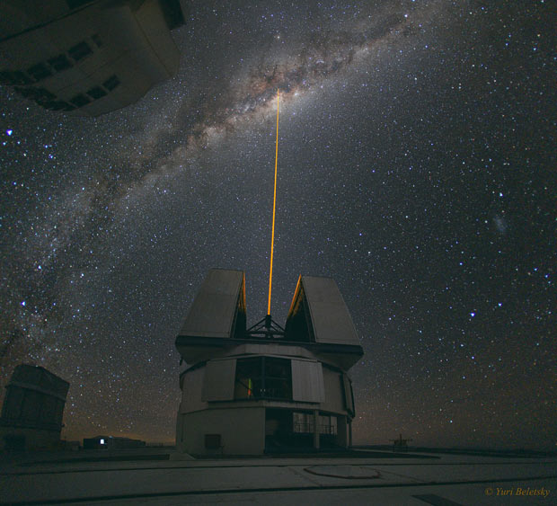 Astronomers at the Very Large Telescope (VLT) site in Chile fire a powerful laser into space to measure the distortions of Earth's ever changing atmosphere