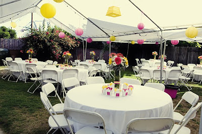 We Rented A Couple Large White Canopies Tables Chairs From Emanual Party Rentals In Anaheim For Really Good Deal Purchased Colored Lanterns