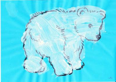 L'ours polaire : séance peinture
