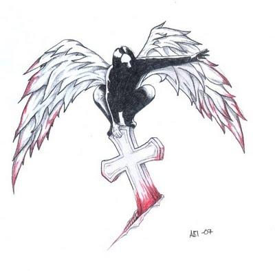 Dark Angel Tattoo Design and Cross Tattoo