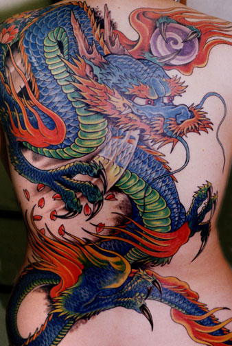 demon or oni and water splashes Japanese tattoo sleeve