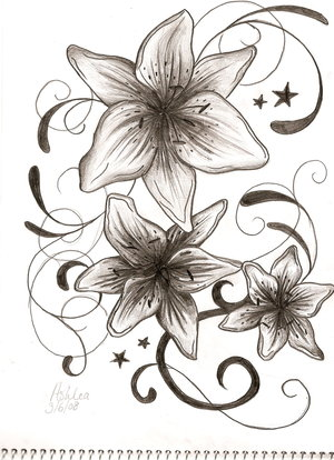 Flower on Lily Flower Tattoo Drawing
