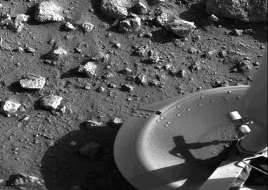 First photograph ever taken on the surface of the planet Mars