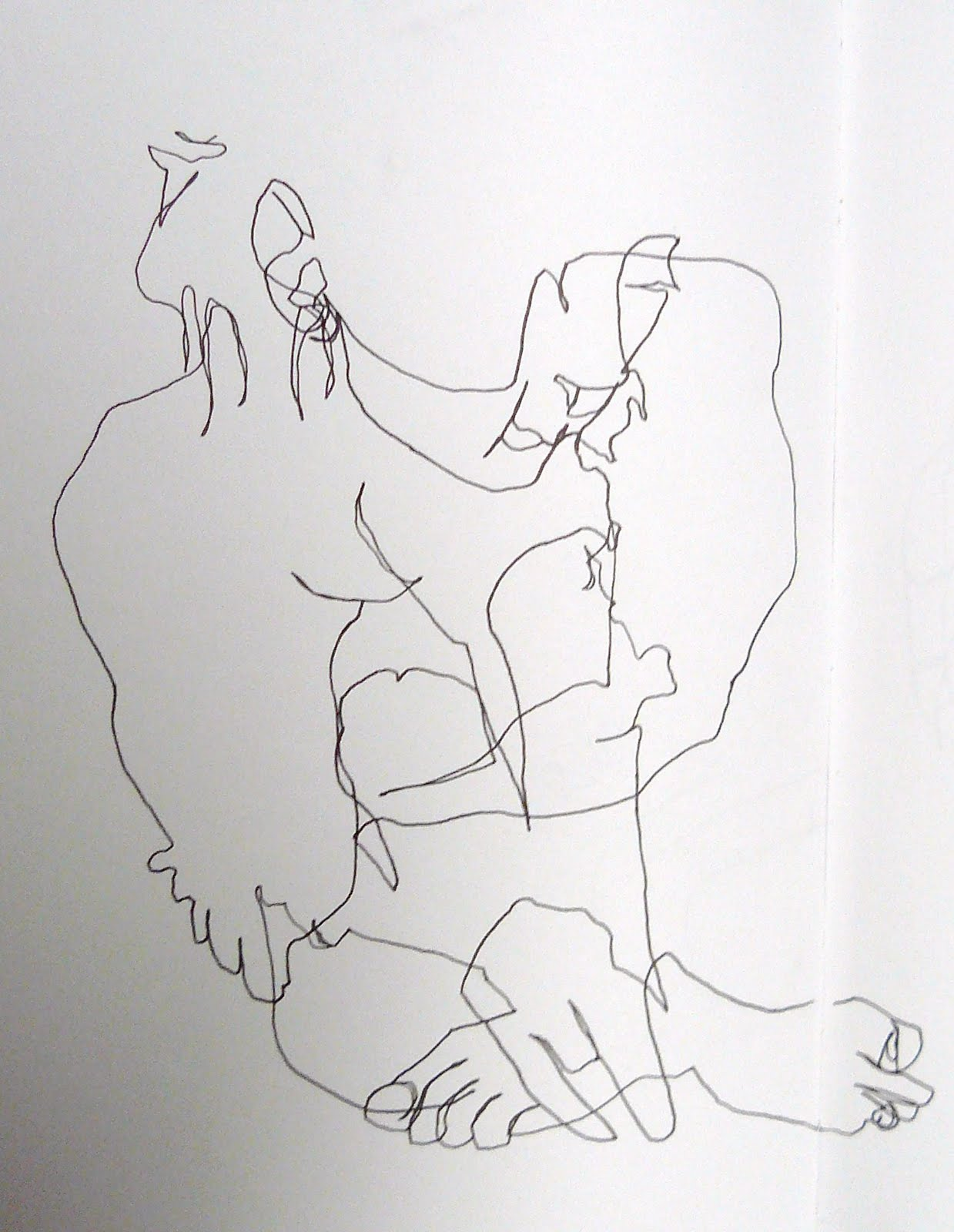 Contour Line Drawing Demo : Sharon draws blind contour line drawing