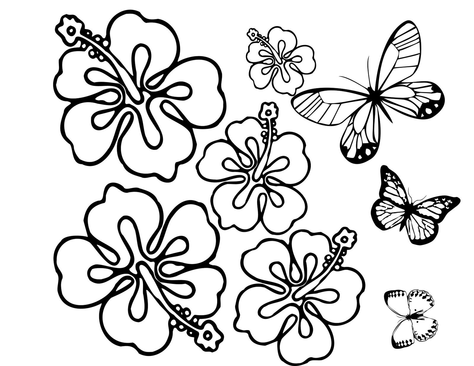 Flores y mariposas listas para colorear, pintar, o llenar con bolitas