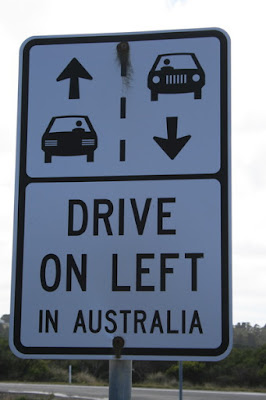 Drive on Left Warning Sign, Great Ocean Road, Australia - © CKoenig