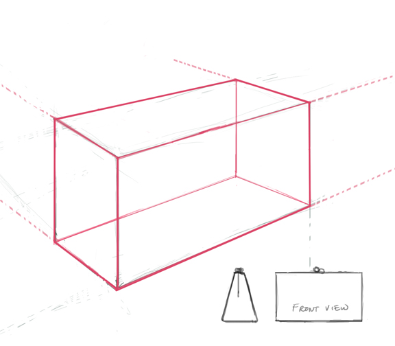 Line Art Box Design : Perspective box to draw accessories workroom sketching