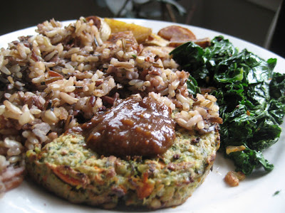 veggie burger with plum chutney, wild rice, sauteed kale, potatoes