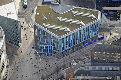 Aerial photograph of Cardiff Central Library by BDP © CommissionAir.