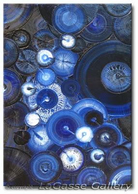 Indigo Moon - Fossil Texture painting