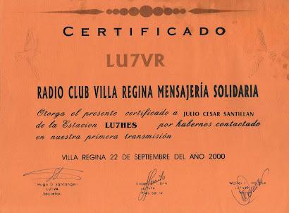 RADIO CLUB VILLA REGINA MENSAJERIA SOLIDARIA - LU7VR