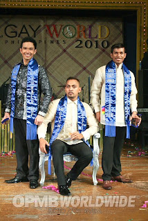 mr. gay world philippines 2010 winners, MARC ERNEST BIALA - 1st Runner Up SHERWIN ABUEL - Mr. Gay World Philippines 2010 MIGUEL DELA SERNA - 2nd Runner Up