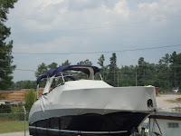 boat cover on cruiser with a radar arch