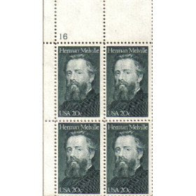 1984 HERMAN MELVILLE ~ AUTHOR ~ MOBY DICK #2094 Plate Block of 4 x 20 cent US Postage Stamps