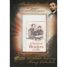 2009 Topps American Heritage: American Heroes Edition A Heroes Journey Abraham Lincoln Stamp Collection #d/100- A Nation of Readers USA 20c Stamp #HJS-AL18
