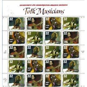 1998 FOLK MUSICIANS #3215a Pane of 20 x 32 cents US Postage Stamps