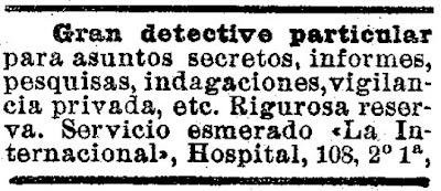 Anuncio para contratar un detective privado