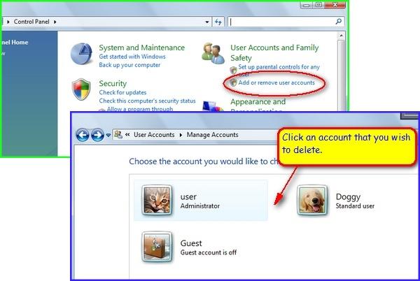 how to delete user folder in windows 7