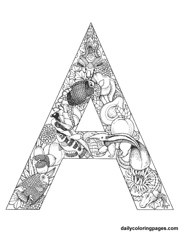 Intricate Alphabet Coloring Pages : Intricate alphabet coloring pages
