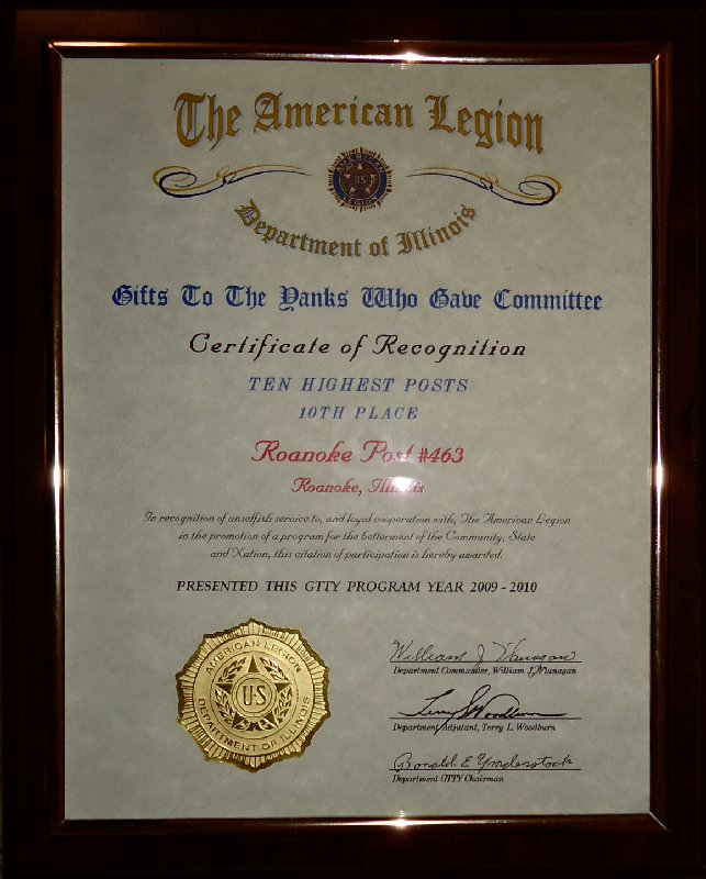 American Legion Post 463: CERTIFICATE OF RECOGNITION